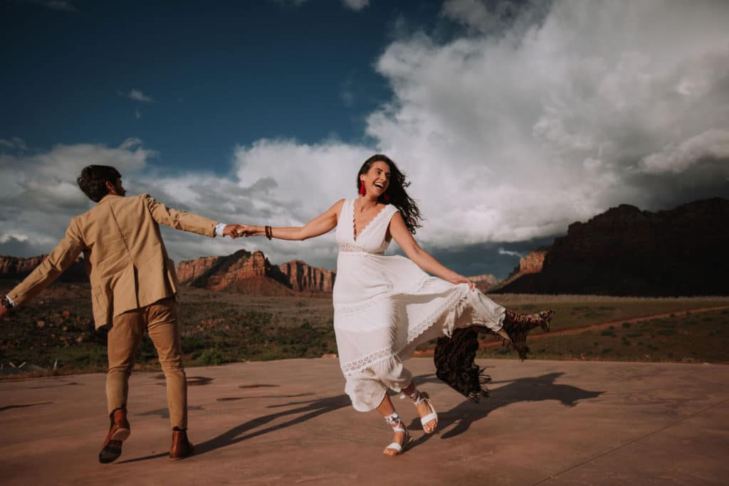 A Moody, Rainy, & Romantic Zion National Park Elopement