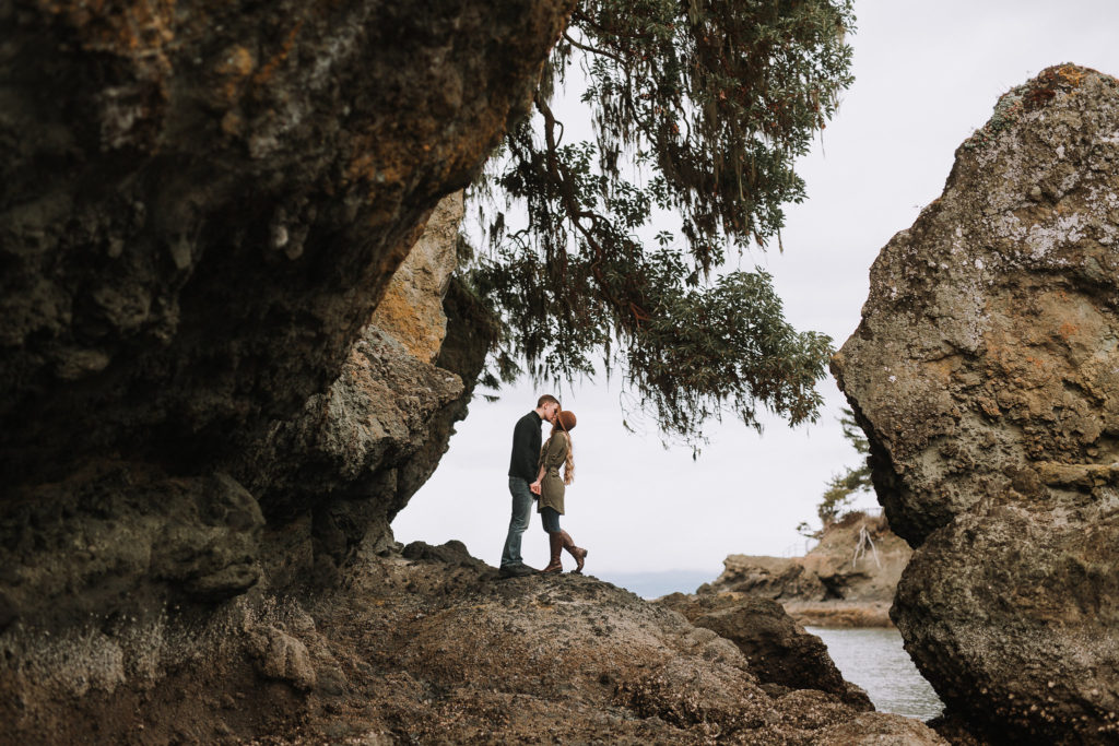 Playful engagement session at Crescent Beach