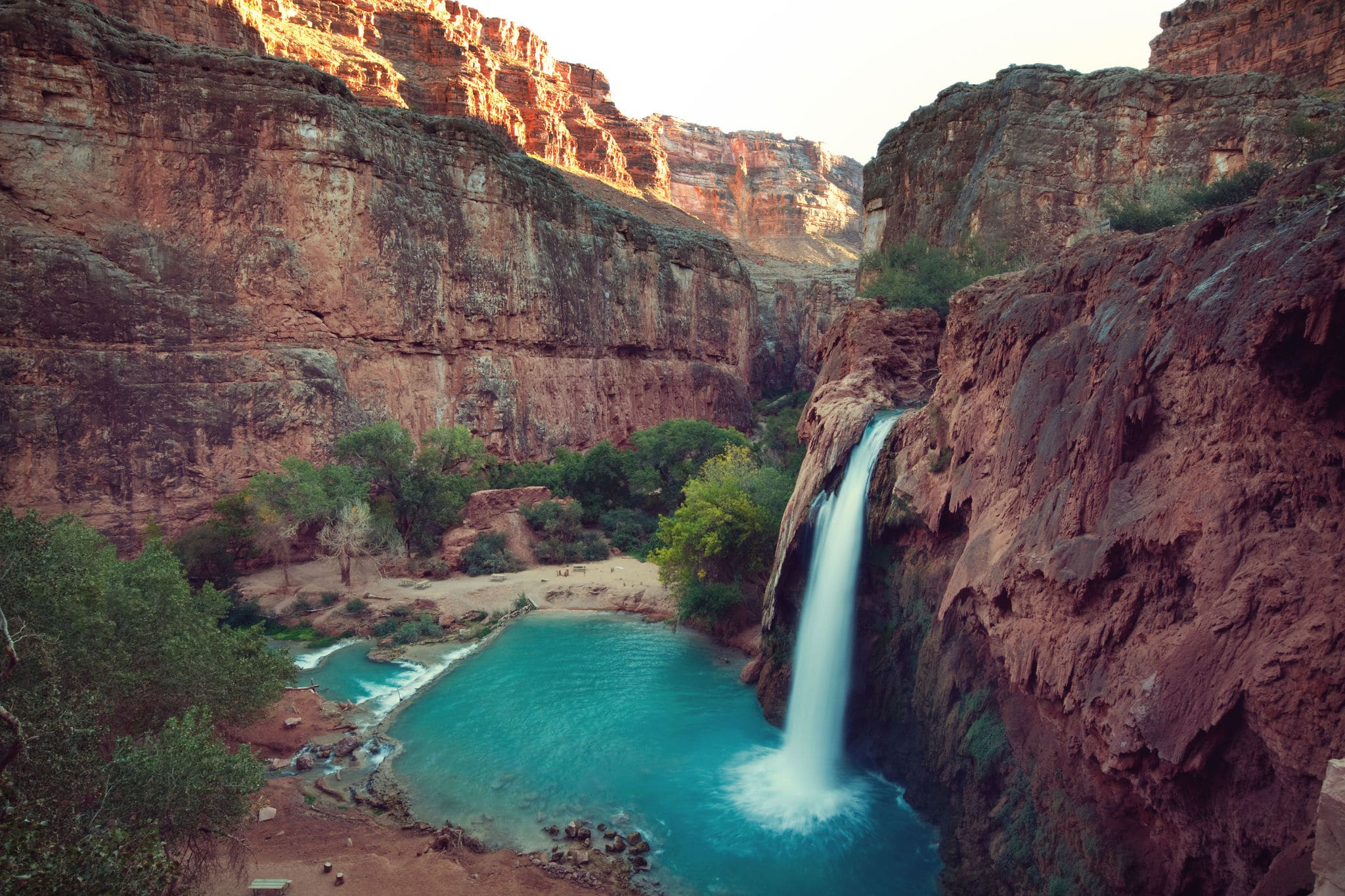Hawasu waterfall in the Havasupai Reservation in Supai, Arizona in the Southwest corner of the Grand Canyon.