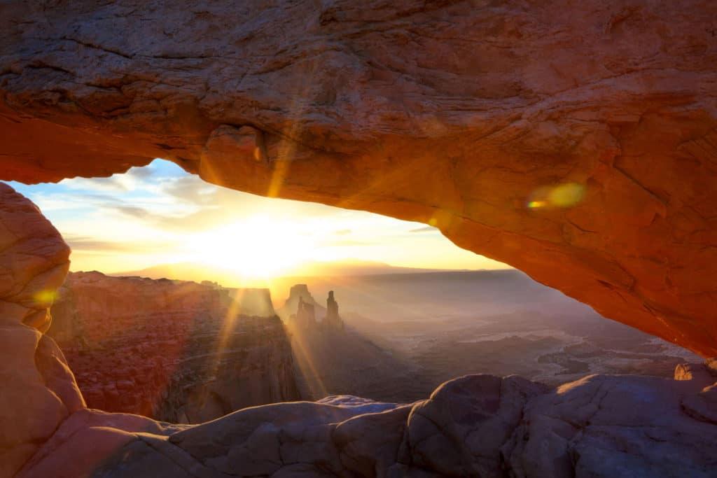 Sunrise at Mesa Arch in Canyonlands National Park near Moab, Utah, USA